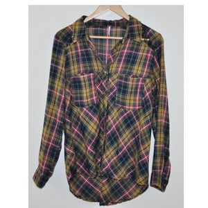 Free People Lace Up Shoulder Plaid Button Down